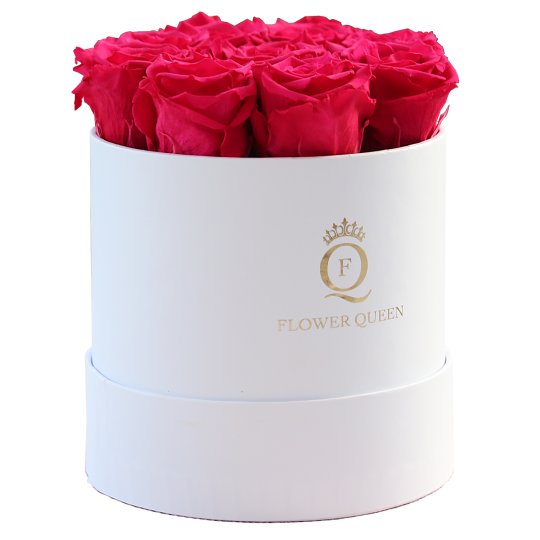 Fuchsia roses in medium white box