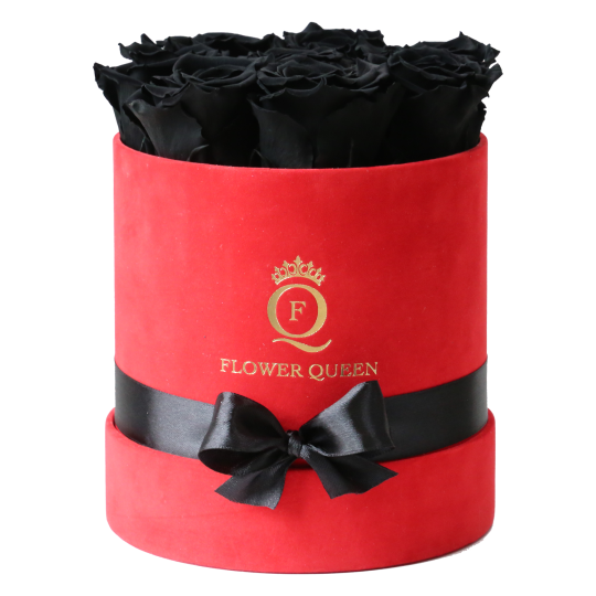 Black roses in medium red, velvet box