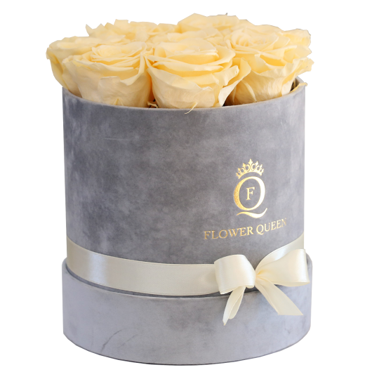 Yellow roses in medium grey, velvet box