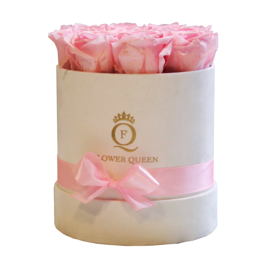 Pink Roses in medium white, velvet box