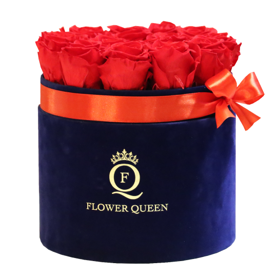 Red Roses in large black, velvet box