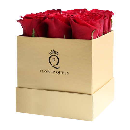 Square medium gold box and red roses